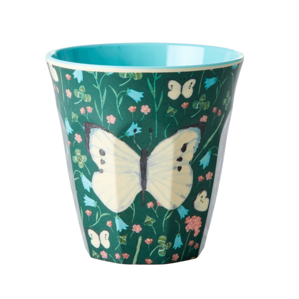 Bilde av KOPP - Mørk Grønn - Butterfly Print - Rice