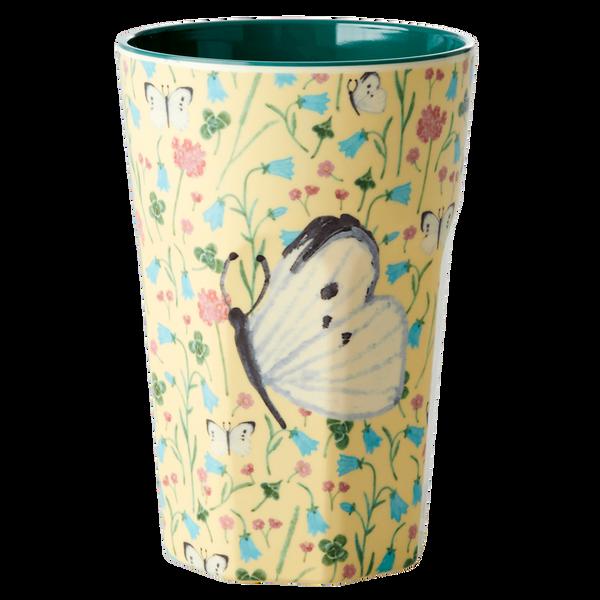 Bilde av HØY KOPP -  Mild Gul - Butterfly Print - Rice